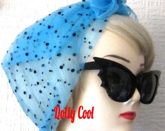 Blue Chiffon Scarf with flock polka dots in black, very Rockabilly, Pin Up. Deadstock 50s / 60s Vintage Nylon Chiffon