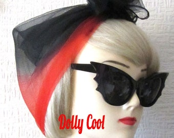 Red Black Chiffon Scarf with two tone ombre dip dyed effect, very Rockabilly, Pin Up. Deadstock 50s / 60s Vintage Nylon Chiffon