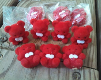 5 Mini Flocked Bears - mini bears miniature bears red Valentine bears red bears Valentine craft supplies teddy bears flocked animals vintage