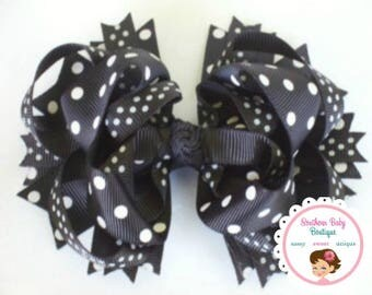 Clearance---Ribbon and Layers and Spikes OH MY---Boutique Hair bow Clip---Jet Black---Dots DOTS Dots-----