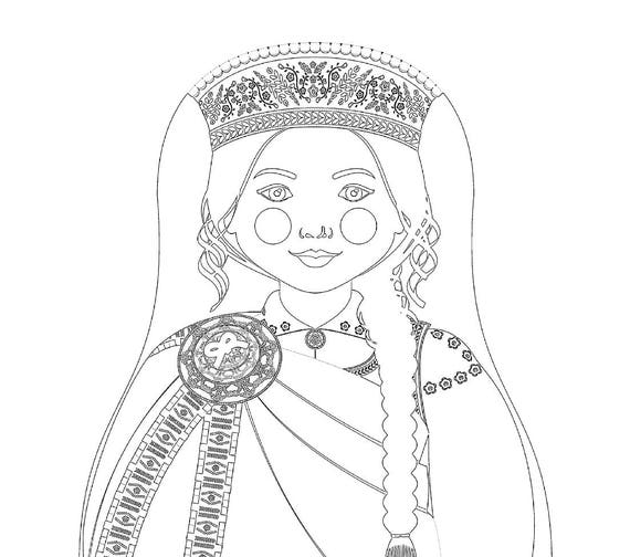 Latvian Girl Matryoshka Coloring Sheet Printable file