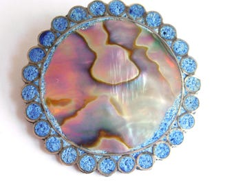 Vintage Taxco Mexican Sterling Silver, Abalone & Chip Inlay Signed Brooch - Crushed Lapis Border - Large Round Pin / Pendant - Eagle Mark
