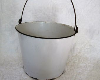 Vintage Large Enamelware Bucket Enamel Pail Wire Bale with Wood Handle