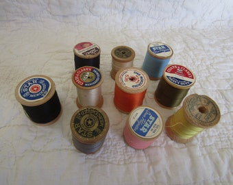 10 Spools Thread Large Wood Spools