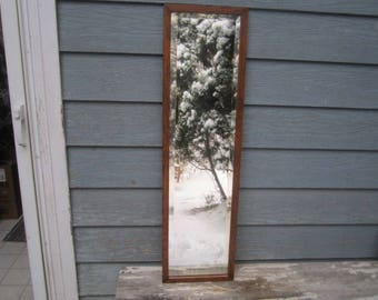 Antique Circa 1910 Heavy Solid Oak Beveled Hanging 11 1/2x41 Full Length Wall Mirror