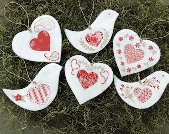 Hearts & Doves Christmas Ornaments