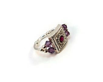 Purple Cocktail Ring, Crystal Ring, Stretch Ring, Stretch Band Ring