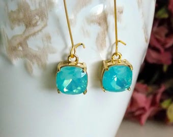 Gold Aqua Blue Earrings, Wedding Jewelry, Bridesmaid Gift, Opal Blue Glass Earrings, Gold Jewelry, Anniversary Gift for Her