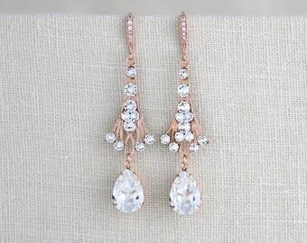 Rose Gold earrings, Bridal earrings, Bridal jewelry, Wedding earrings, Wedding jewelry, Vintage style earrings, Swarovski crystal earrings