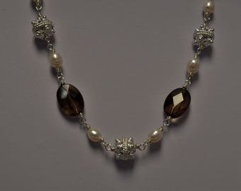 Smoky Quartz and Freshwater Pearl Necklace