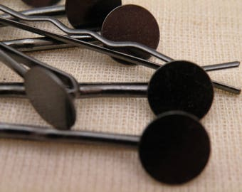 GunmMetal Black Vintage Style Bobby Pin Blanks with soldered pad to embellish  8 pcs