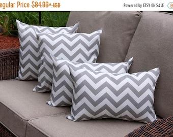 Grey Chevron Outdoor Throw Pillow - Premier Prints Zig Zag Gray Outdoor Decorative Pillow- 4 PK -- Free Shipping