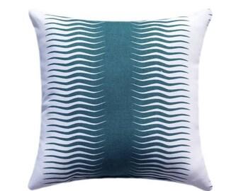 SALE Teal Stripe Throw Pillow   Teal And White STUFFED Decorative Pillow    Gita Stripe Peacock