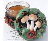 Mushroom & Poppies Stash Jar - ready to ship  - air tight, water proof - 4 oz.