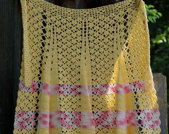 Vintage Apron, 40s Apron, Crochet Apron, 1940s Apron, Yellow Apron,,Vintage Kitchen, Hand Crochet Apron, Waist Apron, Half Apron, Pin Up