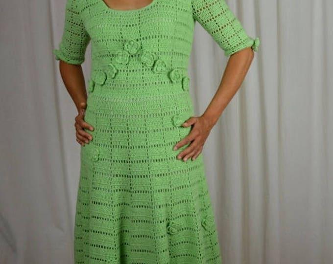 sale Vintage Dress, Green Dress, Crochet Dress, Sweater Dress, Tea Length, 1970s Dress, Hand Made, Spring Dress, 70s Dress, Knit Dress,