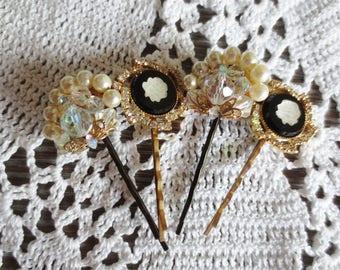 Bobby Pins Cameo Rhinestone Crystal Pearl Filigree Set Handmade Upcycled Hair Accessory (4)