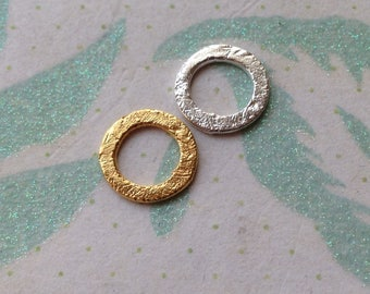 24k Gold Vermeil or Sterling Silver Infinity Eternity Circle Charm Links Connectors, 10 mm, BRUSHED, n400