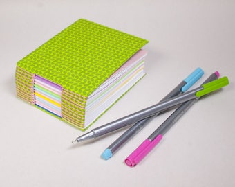 Bitty Mini Blank Book with a Page for Every Day of the Year in Bright Garden Green with Pastel Papers