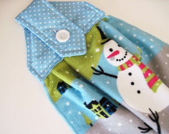 Hanging towel  Kitchen towel button top winter snowmen  Quiltsy Handmade