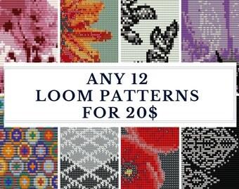 Loom pattern, bracelet pattern, loom bracelet,DIY jewelry, DIY, beading patterns, bulk discount - SAVE  - Pick Any 12 Patterns for 20.00 usd