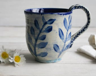 15 oz. Coffee Mug in Natural White and Navy Blue Glaze with Floral Brush Work Pottery Mug Made in USA Ready to Ship