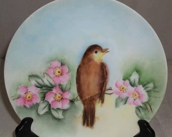 ON SALE Vintage HP Handpainted Primrose Bird Finch Sparrow Yellowthroat