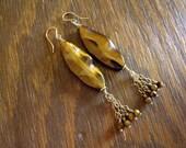 """Long Tassel Earrings with Tigereye Gemstones, Vermeil and Goldfilled Accents, Brown Earrings, Boho Earrings, Dangle Earrings """"Tawny Tiger"""""""