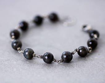 Labradorite Bracelet | Oxidized Finish | Beaded Bracelet | Gemstone Bracelet | Labradorite Jewelry | Wire-Wrapped | Gift for Her