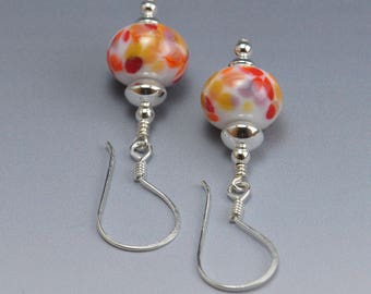 Handmade Orange, Red and Earthy Lampwork Bead Earrings Sterling Silver Jewelry Shades of Fall SRA by HallockGlass