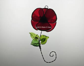 Poppy Suncatcher in Stained Glass