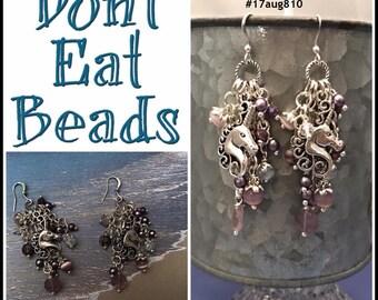purple unicorn earrings #17aug810