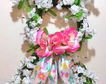 FREE SHIPPING Light Up Easter Bunny - Welcome Door Grapevine Wreath