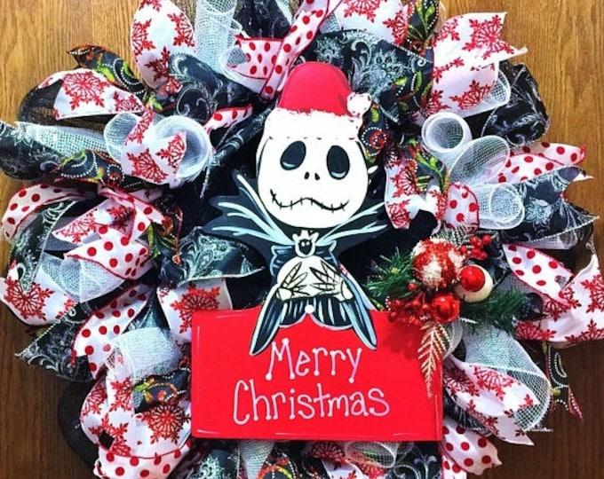 SALE- Jack Skellington Nightmare Before Christmas - Welcome Door Wreath