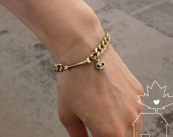 Skull + Bone Charm Bracelet