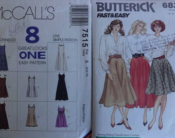 Size 6 Women's Misses' Skirt and Dress Sewing Pattern Pack, Vintage Sewing Pattern, Easy Women Dress Pattern, Butterick 6831, McCalls 7515