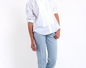 40% SUMMER SALE The Vintage Chaplin Crisp White Tuxedo Button Up Shirt