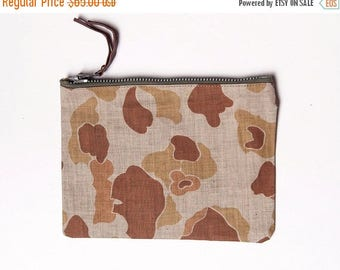 40% OFF CLEARANCE SALE The Vintage Tan Duck Camo Pouch