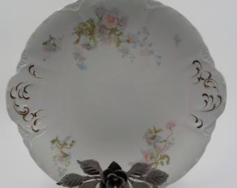 Johnson Bros Platter- Med Size -  Porcelain -Vintage - Made in England - Ornate - Gold Gilded Handles - Floral Pattern - Shabby Cottage