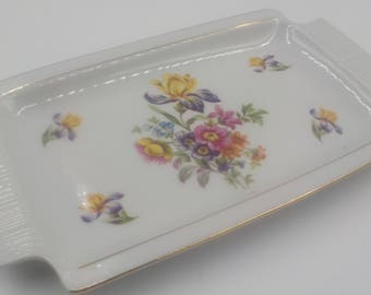 Porcelain Tray - Vanity Tray - Small Serving Tray - Vintage - Made in Germany - Floral Pattern - Oblong