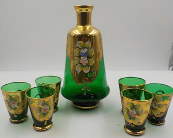Murano Glass Decanter and 6 Cordial Glasses - Gold Gilded and Enamel accents - Vintage - Made in Italy - Bar ware