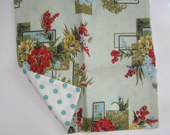 Vintage Cotton Curtain Fabric Cushion Cover only - Chic Green Barkcloth with Red roses 1950s square