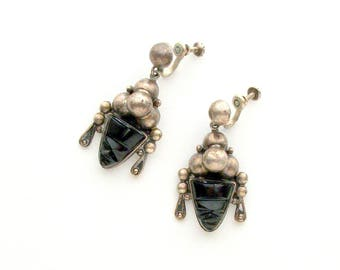 Mexican Sterling Earrings. Carved Stone Masks. Galindo.