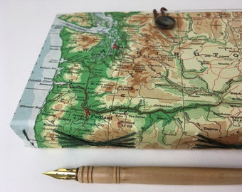 Northwest Map Journal with multimedia paper, upcycled book and map journal with fine art papers, PNW travel journal, Puget Sound journal