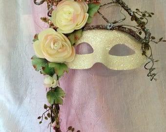 Handheld mask, Masquerade Mask, Woodland Mask, Woodland Wedding, Masquerade Wedding, One of a Kind