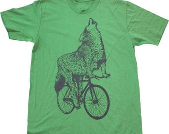 SUMMER SALE Wolf on a Bicycle - Mens T Shirt, Unisex Tee, Cotton Tee, Handmade graphic tee, Bicycle shirt, Bike Tee, sizes xs-xxl