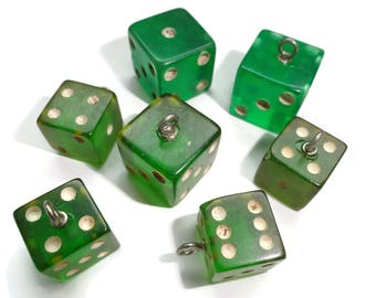 Vintage Bakelite Buttons Beads - 7 Antique 1940s Game Cube Dice for Sewing Knitting Jewelry Supplies Beading