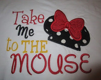 Take Me To The Mouse Minnie Applique Shirt