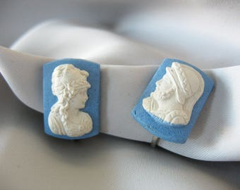 Cameo Earrings, Lady and Soldier, Blue & White, Plaster, Rectangle, Unusual, 1960's, Clip On, Unique Earrings, Vintage Jewelry
