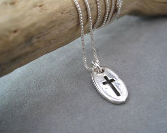 Tiny Cross Pendant - Contemporary Sterling Silver Cross Charm - Religious Necklace - Christian Jewelry